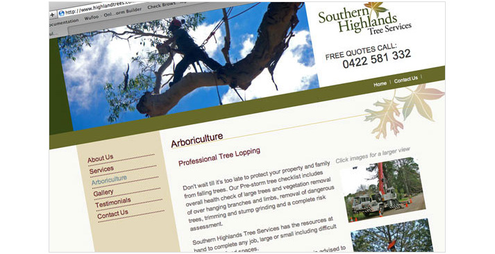 SH Tree Services Website